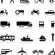 Vector collection of transportation silhouettes — Stock Vector