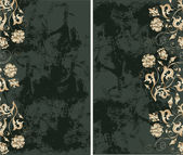 Grunge background with gold flowers — Vecteur
