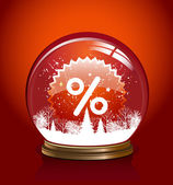 Vector snow globe with in red color — Cтоковый вектор