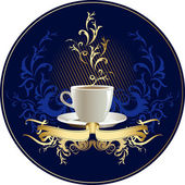 Cup of coffee with abstract design elements and ribbon. — Stock Vector