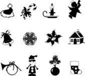 Vector set of Christmas and New-Year's silhouettes — Stock Vector