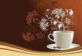 Tazza di caffè con elementi di disegno astratto — Vettoriale Stock