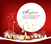 Weihnachtskarte mit stadt — Stockvektor