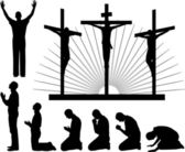 Silhouettes of the three crosses and praying man — Stock Vector