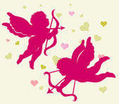 Silhouettes of Cupid for Valentines day. — Stock vektor