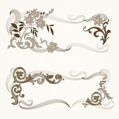 Set of vintage floral frames. — Stock Vector
