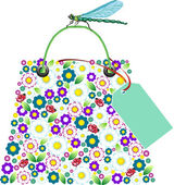 Shopping flowers bag with dragonfly. — Stock vektor