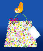 Hopping flowers bag with butterfly. — Stock Vector