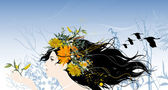 Beautiful woman with flowers and birds in the hair. — Vecteur