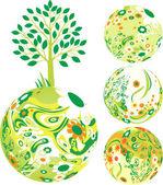 Floral Globe — Stock Vector