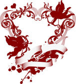 Red heart with filigree ornament and Cupid — ストックベクタ