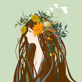 Beautiful woman with flowers and birds in the hair — Stock Vector