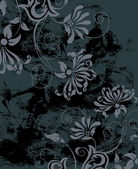 Black grunge background with flowers. — Vecteur