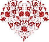 κόκκινη καρδιά με φιλιγκράν στολίδι, εικονογράφηση — Διανυσματικό Αρχείο