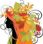 Decorative silhouette of woman with autumn leaves. — Stock Vector