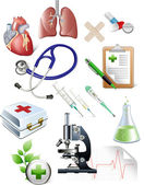 Set of medicine objects — Stock Vector