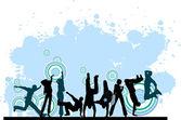 Everyone dancing and having fun. Dancing people. — Stock Vector