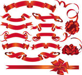 Set of red ribbons and bows — Stock Vector