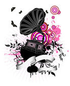 Gramophone on grunge floral background — Stock Vector