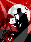 Vector Illustration on a musical theme, saxophone — Stock Vector