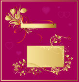 Gold valentines background - floral elements & hearts — Stock Vector