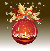 Christmas Ball in red colors — Vecteur