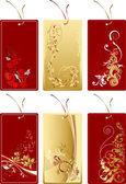 Set of red and gold labels with abstract flower — Cтоковый вектор