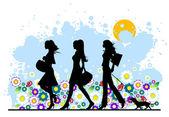 Summer, shopping girls — Stock vektor