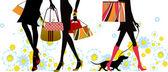 Summer, shopping girls — ストックベクタ