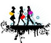 Nákupní dívky — Stock vektor
