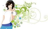 Women is listening to music. — Wektor stockowy