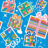 Wallpaper with gift boxes. — Stock Vector