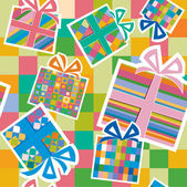 Wallpaper with gift boxes. — Vecteur