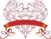 Filigraan sieraad beeld. rood hart met lint. — Stockvector