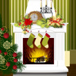 Christmas room with fireplace — Stock Vector #44809467