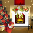 Christmas room with fireplace — Stock Vector #44809419