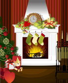 Weihnachten zimmer mit kamin — Stockvektor