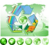 Mondo riciclaggio. — Vettoriale Stock