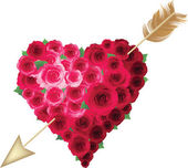 Heart and roses. — Vector de stock