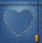 Denim heart background — Stock Vector
