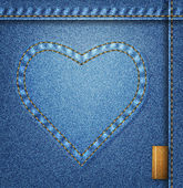 Denim heart background — Stok Vektör