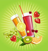 Juice and fruits. — Stock Vector