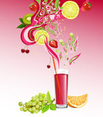 Juice and fruits — Stock Vector