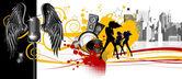 Music.Dancing people — Stock Vector