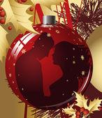 Bola de Navidad con par de besos. — Vector de stock