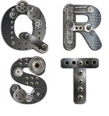 Mechanical alphabet of gears — Stock Vector