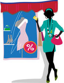 Glam shopping girl. — Stock Vector