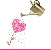 Heart and watering can. — Stock Vector