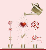 Hearts and watering can. — Wektor stockowy