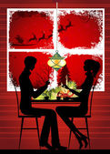 Woman and man at Christmas dinner — Vecteur